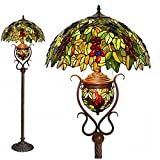 grape tiffany lamp - Floor Lamps,Magcolor Tiffany Style Stained Glass Raisin Grape Floor Lamp with 18 inches Handmade Lampshade, Double Lit, Suitable for Decorating Room