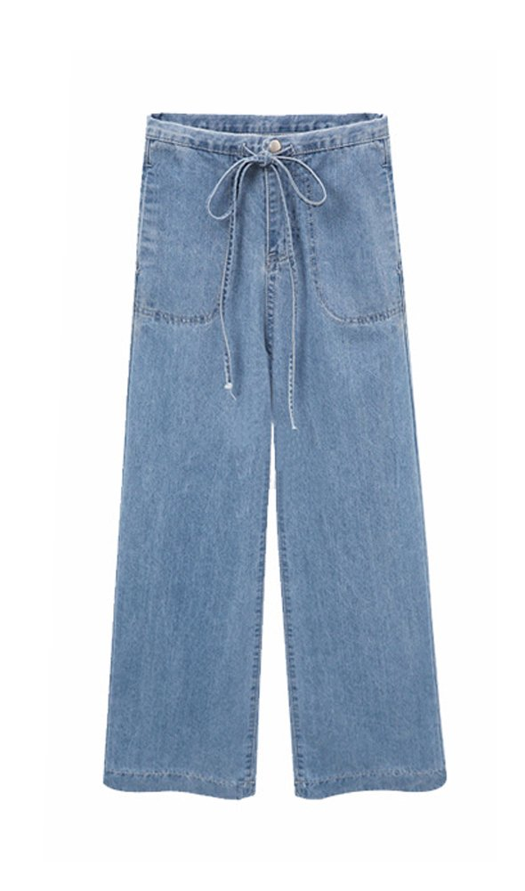 Wicky LS Women's Drawstring Waist Wide Leg Denim Jean Pants