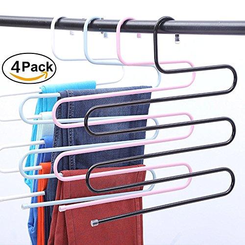 Tpocean Pants Kleiderbügel S-Typ Edelstahl Hose Rack 5 Schichten Mehrzweck Schrank Kleiderbügel Space Saver Lagerung Rack für Hose Schal Handtuch Gürtel Krawatte (Multi)