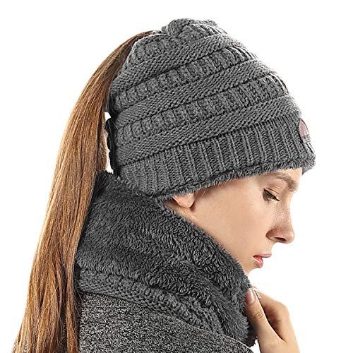 (Winter Infinity Circle Scarf Ponytail Beanie Set Warm Soft Stretchy for Women Dark)