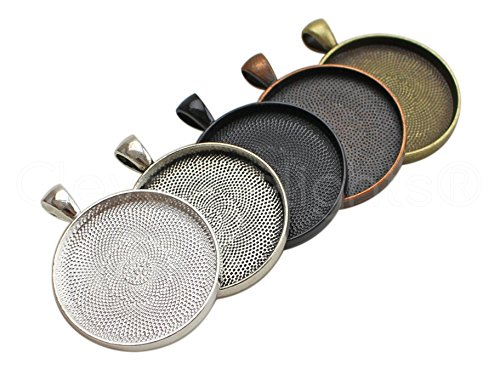 """50 Pack - CleverDelights 30mm (1 3/16"""") Round Pendant Trays - Mix Pack - Copper Bronze Silver Black"""