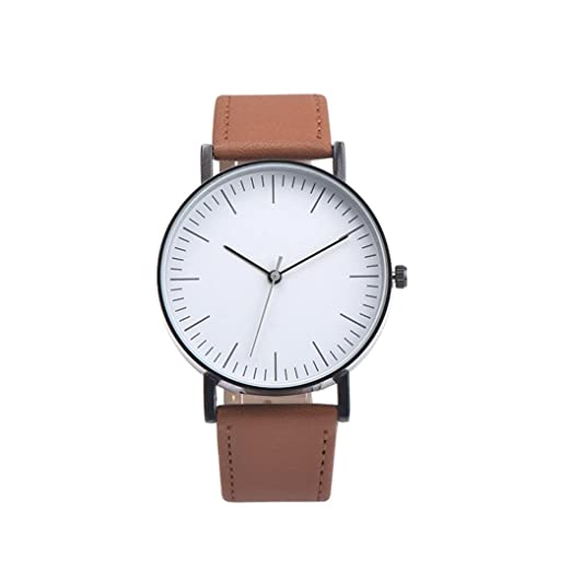 Amazon.com: Napoo Mens Vintage Design Leather Band Analog Alloy Quartz Wrist Watch Big Dial (Brown): Watches