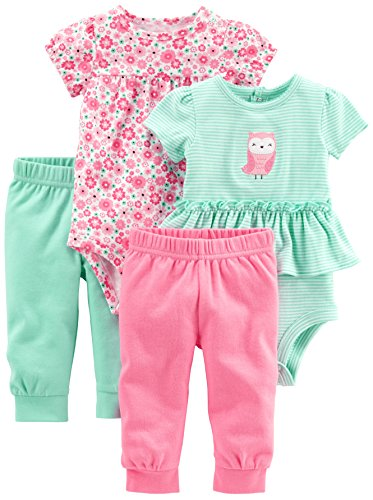 Simple Joys by Carter's Baby Girls' 4-Piece Bodysuit and Pant Set, Pink Floral/Mint Owl, 0-3 Months