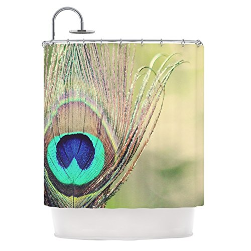 Majestic Peacock Feathers Pattern, Vibrant Top Shower Curtain, Bold Graphic Animal Print Theme, Premium Modern Home Adults Bathroom Decoration, Earthy Jungle Artwork Motif, Teal, Cream, Size 69 x 70