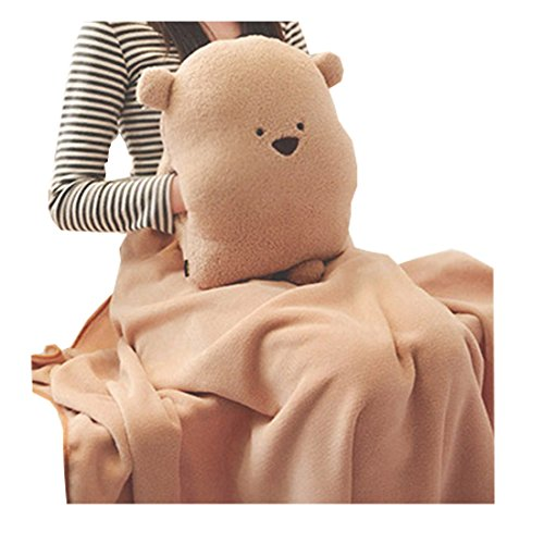 FeelMeStyle Adults Kids Multifunctional Throw Pillow & Hand Warmer & Blanket Cute Bear - Travel Blanket Bear