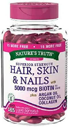 Nature's Truth Superior Strength Hair/Skin/Nails with Argan/Coconut Oil/Collagen (Pack of 2)