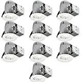 Globe Electric 3'' LED IC Rated Swivel Spotlight Recessed Lighting Kit Dimmable Downlight, Contractor's (10-Pack), 10x MR16 GU10 LED Bulbs Included, White Finish, Easy Install Push-N-Click Clips, 90953
