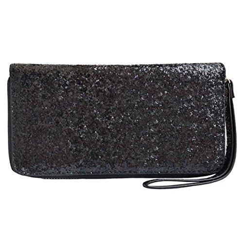 Women Wristlet Wallet - Sequined Clutch Bag with Zipper Closure - Black, by Beaulegan by BEAULEGAN