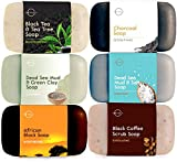 O Naturals 6-Piece Black Soap Bar Collection. 100% Natural. Organic Ingredients. Helps Treat Acne, Repairs Skin, Moisturizes, Deep Cleanse, Luxurious. Face & Body Women & Men. Triple Milled, Vegan 4oz