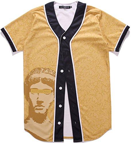 Pizoff Unisex Short Sleeve Baseball Collar Button Down 3D Artist Floral Print Breathable Dance Basketball Team Baseball Shirt Y1724-20-L