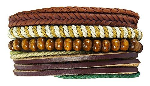 Adam Roach Costume (Bijoux De Ja Hip 4 Layers Multi Strand Textured Stackable Wrap Bracelet Set (Style 3))