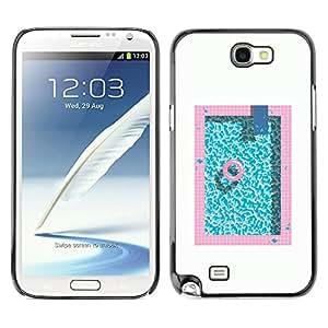 X-ray Impreso colorido protector duro espalda Funda piel de Shell para SAMSUNG Galaxy Note 2 II / N7100 - Pool Pink Blue Aquamarine Minimalist