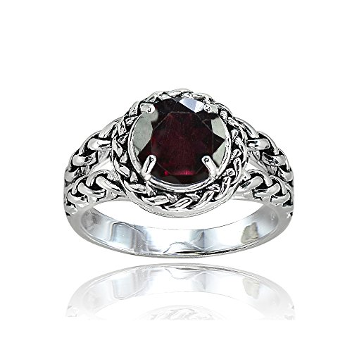 Sterling Silver Garnet Round Oxidized Rope Split Shank Ring