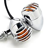 FEIFEIER 2pcs Heavy Duty Motorcycle Turn Signals Bulb Indicators Blinkers Lights (Silver)