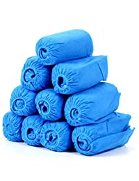 OULII 100pcs Tela no tejida Zapatos desechables cubre Dustproof antideslizante zapato cubre (Azul)