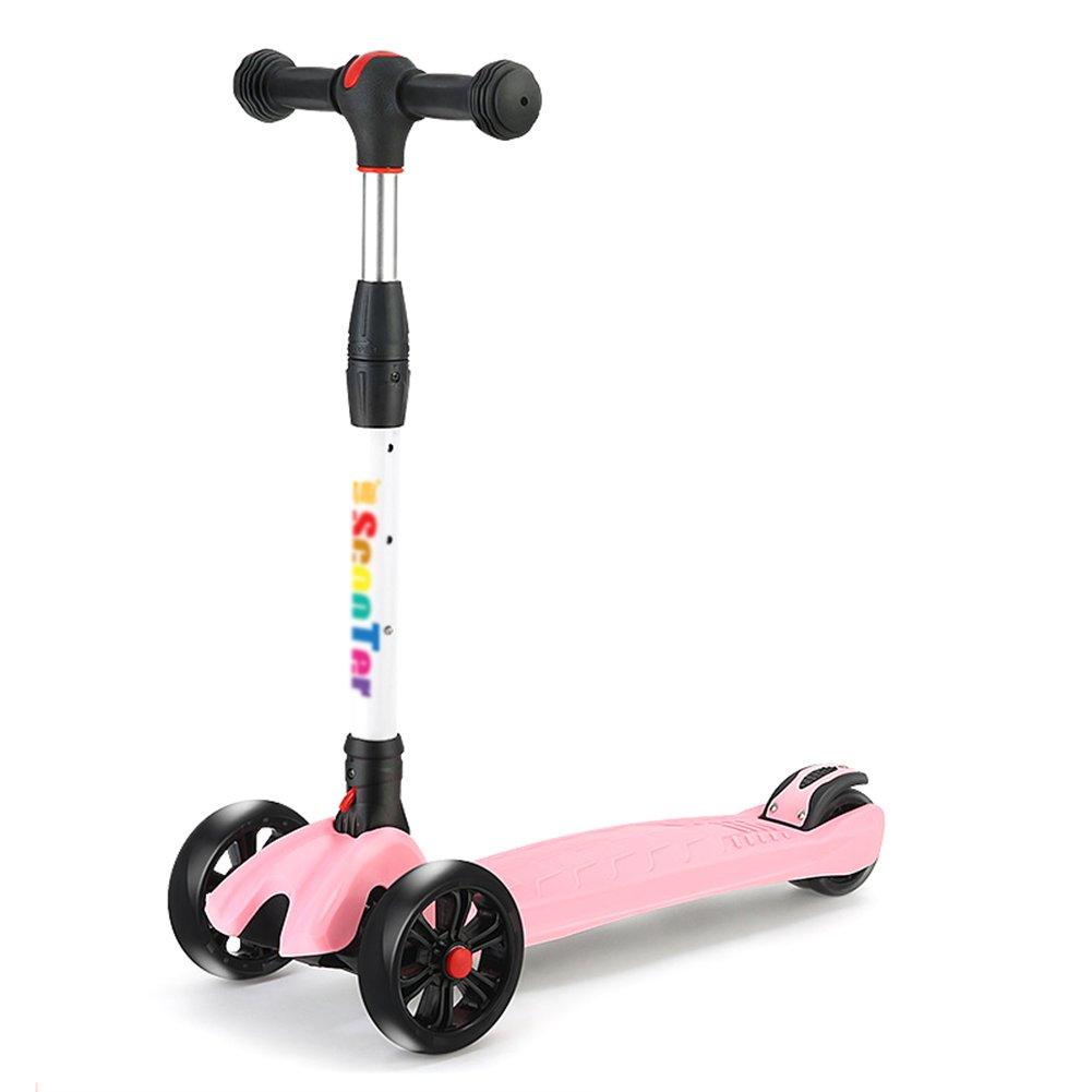 Monopattino- Scooter per Bambini Quattro Round 3-10 Anni Piega Ragazzi e Ragazze Kick Scooter (colore   rosa)