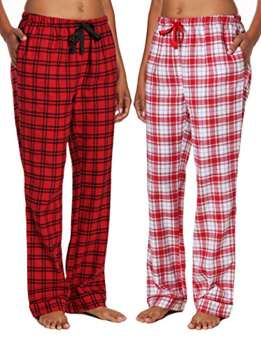 2-Pack Women's Cotton Lightweight Flannel Lounge Pants - Checks-Plaid Red - S
