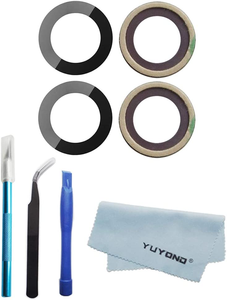 YUYOND 2pcs OEM Original Back Rear Camera Glass Lens Replacement for iPhone 7 and for iPhone 8 Glass Only with Adhesive Preinstalled with Tooks Kit and Clean Cloth