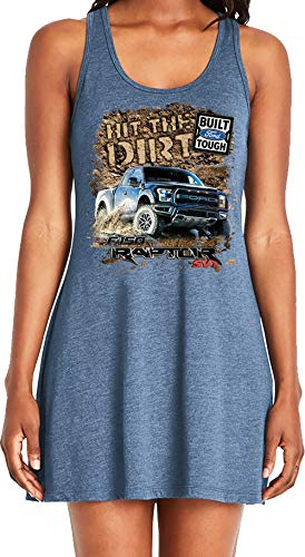 Amdesco Ladies Ford Raptor SVT F-150 Casual Racerback Tank Dress, Indigo Large ()