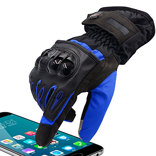 WUPP Winter Motorcycle Gloves Men Full Finger Touch Screen Gloves for Cycling Racing Skiing Mountain Street Bike ()