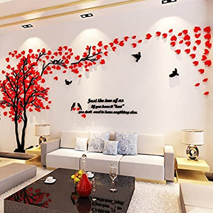 amazon com xiaolanwelc home decor acrylic creative couple tree 3d rh amazon com easy creative room decorations creative room wall decoration