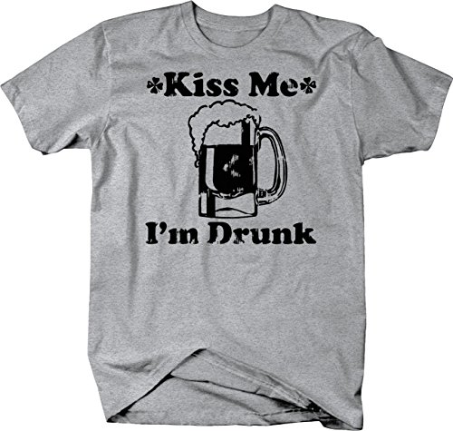 Kiss Me I'm Drunk Irish St Pat Beer Stein Bar Tshirt - Large Heather Grey - Im Irish Stein