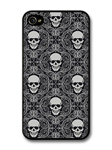 Black and White Skull Gothic Pattern with Livery Grunge Hipster case for iPhone 4 4S
