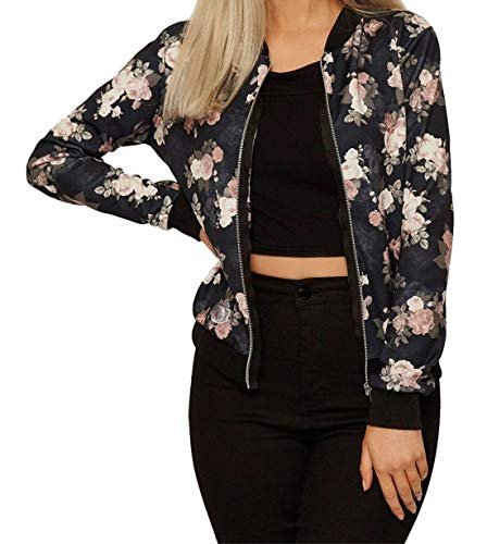 Print Donna Giacca Black Style Riddled Floral Bomber With FpwnqHI01a