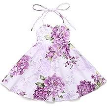 Flofallzique Floral Vintage Girls Dress Summer Birthday Party Holiday Toddler Dress