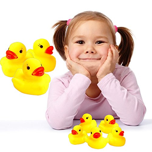 Rubber Ducks - 24 Pack Baby Bath - Mini Floating Bath Toy Duckies - Let Your Child Experience The Fun And Enjoyment Of Bath-Time - Early Developmental Learning - Prize - Christmas, Holiday Gift... (Gift Bath Ducky Time)