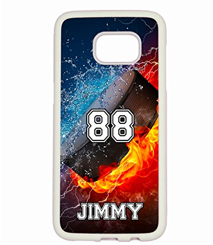 Hockey Personalized Pucks (Galaxy S7 Case, ArtsyCase Thunder Water Fire Hockey Puck Personalized Name Number Phone Case for Samsung Galaxy S7 (White))