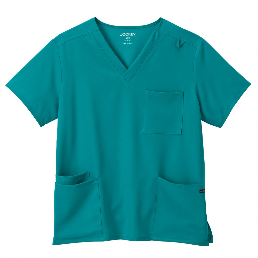 Classic Fit Collection by Jockey Unisex V-Neck Solid Scrub Top Medium Teal