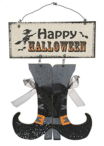 Happy Halloween MDF Witches Boots Wall Plaque (Halloween Decorations Etsy)