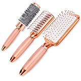 Lily England Rose Gold Hair Brush Set Luxury Professional Hairbrush Gift Set For All Hair Types