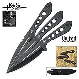 United Cutlery KR0061 Kit Rae AirCobra Throwing Knife, 9-Inch, Black, 3-Pack, Outdoor Stuffs