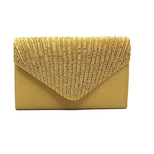 Bag Party Gold Evening Envelope Women Satin Clutch Prom Ladies Diamante Valentine Bridal Jingying Z08xnn