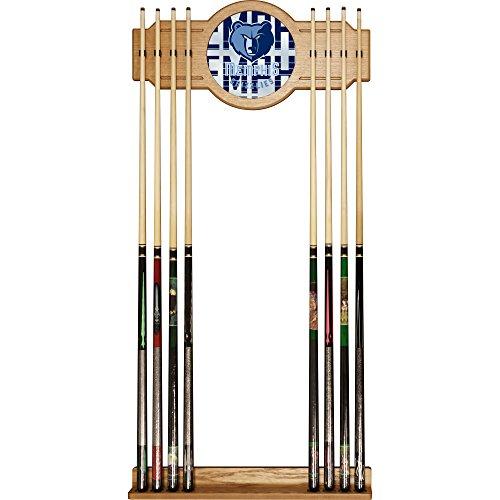 Memphis Grizzlies Pool - Trademark Gameroom NBA6000-MG3 NBA Cue Rack with Mirror - City - Memphis Grizzlies