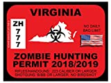 VIRGINIA Zombie Hunting Permit(Bumper Sticker)