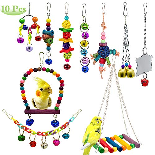 - AUHOKY 10Pcs Bird Parrot Toys, Hanging Swing Chewing Perches with Bells Parrot Finch Toys, Hanging Cage Hammock Ladder Bell Toys for Small Parakeets Cockatiels, Conures, Macaws, Love Birds, Finches