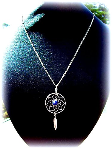 Dream catcher necklace with Denim Lapis in silver, Native made, Boho, Tribal, Native American, Dreamcatcher