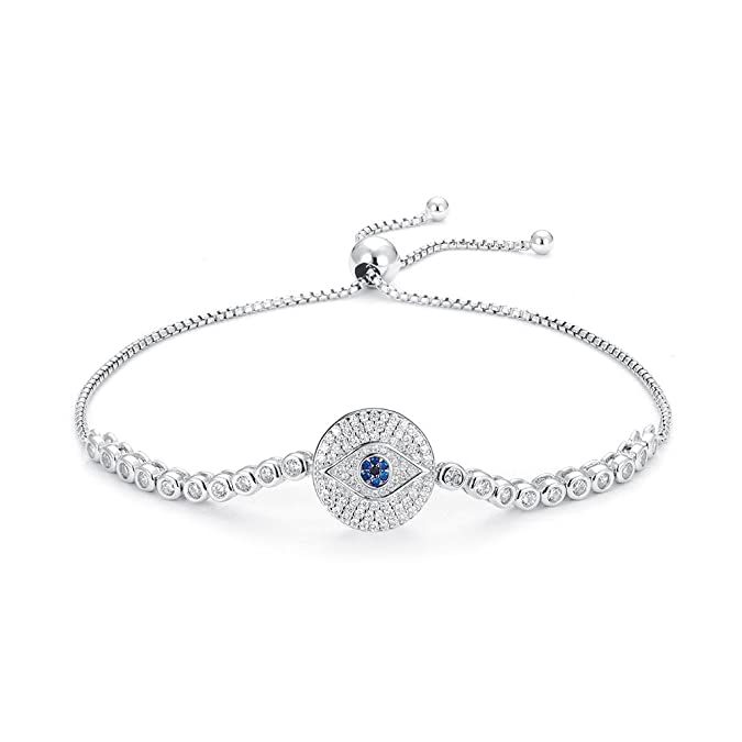 Kaletine Round Blue Evil Eye Bracelets Sterling Silver 925 Cubic Zirconia CZ Adjustable Tennis Anchor Chain 10