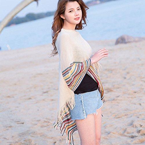 Beige a Donna Sexy Spiaggia Pullover LvRao orlo frange Poncho Up a maglia Mantelle con Elegante strisce a Festa Cover qAnU1Ex