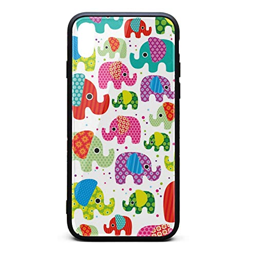 (Colorful India Elephant Printing iPhone X Case Plate and Soft TPU/Shock Proof/Anti-Finger Double Protection Phone Back Case Cover for iPhone X)