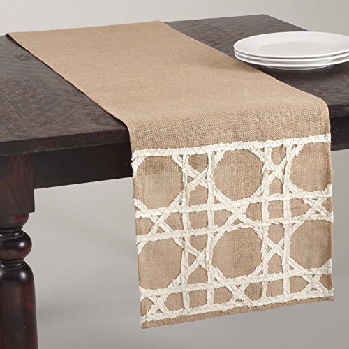 SARO LIFESTYLE 602 Lacey Jute Fretwork Design Table Runner, 16 X 72-Inch, Natural