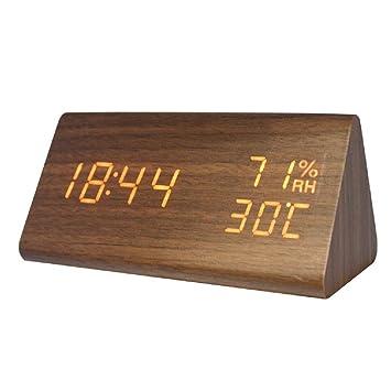 Despertador Reloj de alarma digital de madera LED ...