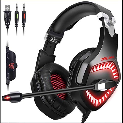 Ounitech Gaming Headset, PS4 Headset with Clean&Balanced 3D Surrounded Sound,Xbox one Headset with Noise Canceling&Volume Control&Soft Earmuff,Compatible with PC,PS4 Nintendo Switch,Jewelry Red (Red Earmuff)