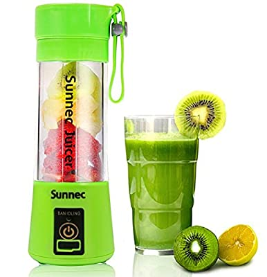 Sunnec Portable Blender USB Juicer Cup, Fruit Mixing Machine, Portable Personal Size Eletric Rechargeable Mixer, Blender, Water Bottle 380ml with USB Charger Cable Portable Juice Blender and Mixer