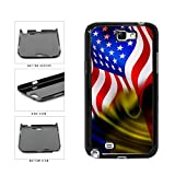 BleuReign(TM) Romania And USA Mixed Flag Plastic Phone Case Back Cover Samsung Galaxy Note II 2 N7100