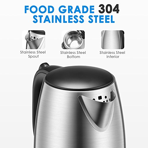 Electric Kettle 1.7L Stainless Steel Tea Kettle with British Strix Control, 1500W Fast Boiling Water Kettle, Hot Water Kettle Electric with Auto Shut-Off, BPA-Free By Aicok by AICOK (Image #1)