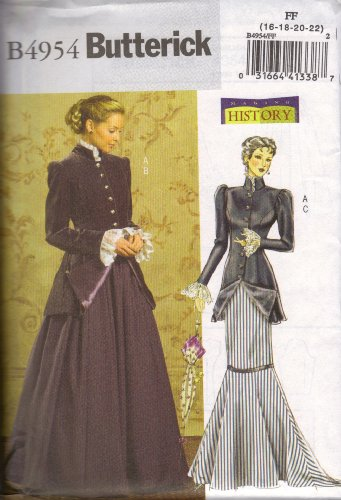 17 Century Costume Patterns - Butterick Making History Pattern B4954 for Early 20th Century Costume Size FF (16-18-20-22)